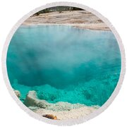 Black Pool In West Thumb Geyser Basin In Yellowstone National Park Round Beach Towel