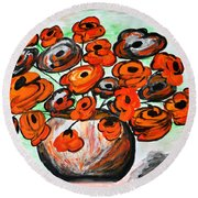 Black Poppies Round Beach Towel by Ramona Matei