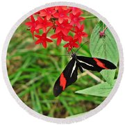 Black Red And White Butterfly Round Beach Towel