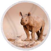 Black Rhinoceros Baby Round Beach Towel