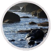 Black Rocks And Sea  Round Beach Towel