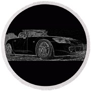 Black S2000 Round Beach Towel