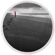 Black Sand Round Beach Towel
