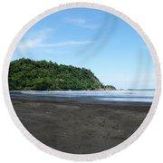 Black Sand Beach In Costa Rica Round Beach Towel