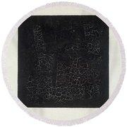 Black Square Round Beach Towel by Kazimir Malevich