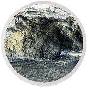Black Surf Round Beach Towel
