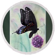 Black Swallowtail Butterfly By George Wood Round Beach Towel