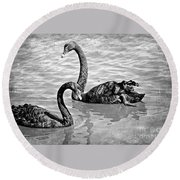 Black Swans - Black And White Textures Round Beach Towel