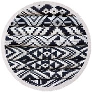 Black Thai Fabric 02 Round Beach Towel
