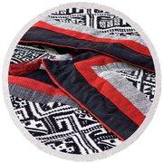 Black Thai Fabric 04 Round Beach Towel