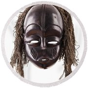 Black Tribal Face Mask On Isolated On White Round Beach Towel