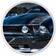 Black Truefiber Mustang Round Beach Towel
