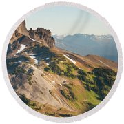 Black Tusk Mountain And Helm Lake Round Beach Towel