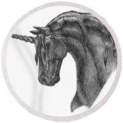 Black Unicorn Round Beach Towel