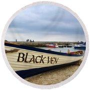 Black Ven Round Beach Towel