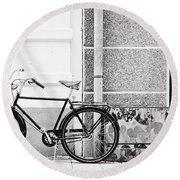 Black Vintage Bicycle Round Beach Towel by Jimmy Karlsson
