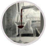 Black White And Red Wine Round Beach Towel