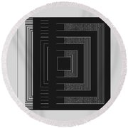 Black White Gray Square Geometric Round Beach Towel
