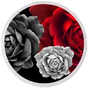 Black White Red Roses Abstract Round Beach Towel
