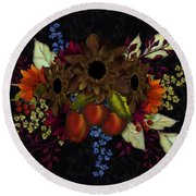 Black With Flowers And Fruit Round Beach Towel