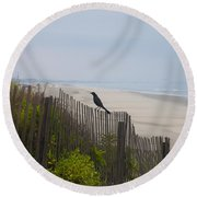 Blackbird On A Fence On The Beach Round Beach Towel by Bill Cannon