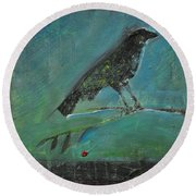 Blackbird Redberry Round Beach Towel