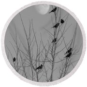 Blackbirds By The Moon Round Beach Towel
