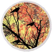 Blackbirds In A Tree Round Beach Towel