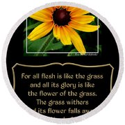 Blackeyed Susan With Bible Quote From 1 Peter Round Beach Towel