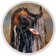 Blackfoot Medicine Man Round Beach Towel