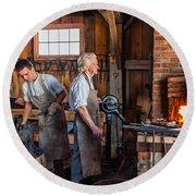 Blacksmith And Apprentice 2 Round Beach Towel by Steve Harrington
