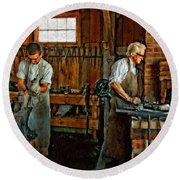 Blacksmith And Apprentice Impasto Round Beach Towel