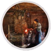 Blacksmith - Cooking With The Smith's  Round Beach Towel by Mike Savad