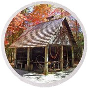 Blacksmith Shop In The Fall Round Beach Towel