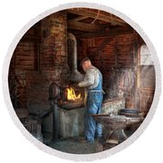 Blacksmith - The Importance Of The Blacksmith Round Beach Towel by Mike Savad