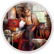 Blacksmith - The Smithy  Round Beach Towel by Mike Savad