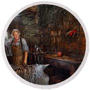 Blacksmith - Working The Forge  Round Beach Towel by Mike Savad