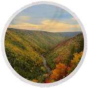 Blackwater Gorge With Fall Leaves Round Beach Towel by Dan Friend