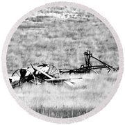 Black And White Of Old Farm Equipment Round Beach Towel