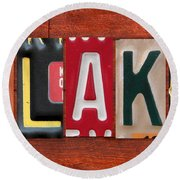 Blake License Plate Name Sign Fun Kid Room Decor Round Beach Towel