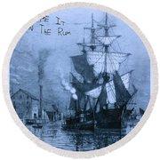 Blame It On The Rum Schooner Round Beach Towel by John Stephens