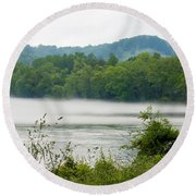 Blanket Of Fog On Clinch River  Round Beach Towel