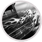 Blazing A Trail - Ford Model A 1929 In Black And White Round Beach Towel