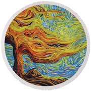 Blazing In The Light Round Beach Towel