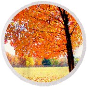 Blazing Tree Round Beach Towel