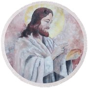 Blessing Of The Bread Round Beach Towel