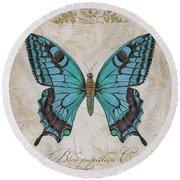 Bleu Papillon-c Round Beach Towel