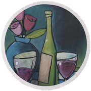 Blind Date With Wine Round Beach Towel