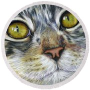 Stunning Cat Painting Round Beach Towel