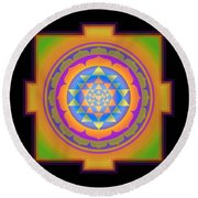 Bliss Yantra Round Beach Towel